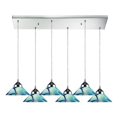 Refraction 30 in. 6-Light Polished Chrome Pendant