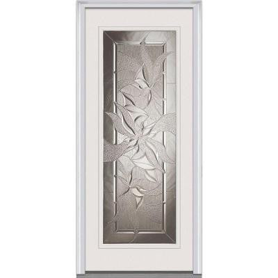 32 in. x 80 in. Lasting Impressions Decorative Glass Full Lite Primed White Fiberglass Smooth Prehung Front Door