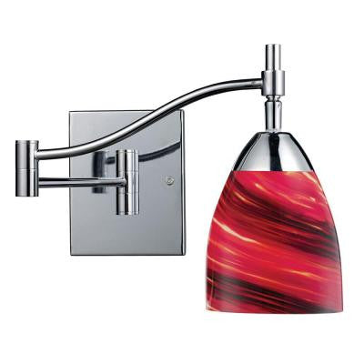 Celina 1-Light Polished Chrome Wall-Mount Swingarm Sconce