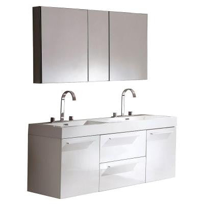 Opulento 54 in. Double Vanity in White with Acrylic Vanity Top in White and Medicine Cabinet