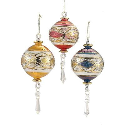 3.5 in. Luxor Blown Glass Ball Ornament (Set of 3)