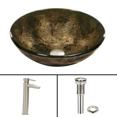 Glass Vessel Sink in Sintra and Shadow Faucet Set in Brushed Nickel