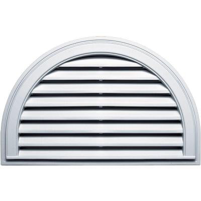 22 in. x 34 in. Half Round Gable Vent #001 White