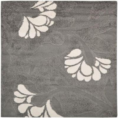 Florida Shag Grey/Beige 6 ft. 7 in. x 6 ft. 7 in. Square Area Rug