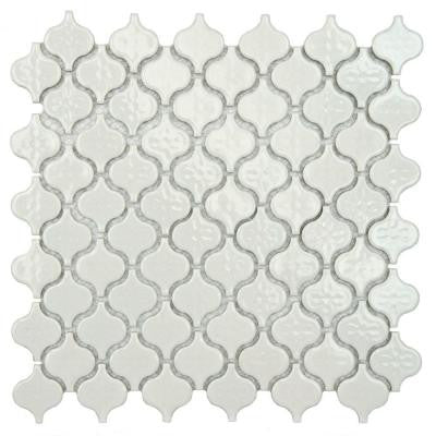 Lantern Mini Glossy White 10-3/4 in. x 11-1/4 in. x 5 mm Porcelain Mosaic Floor and Wall Tile