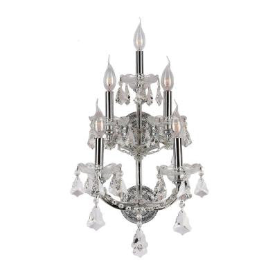 Maria Theresa 5-Light Chrome and Crystal Wall Sconce