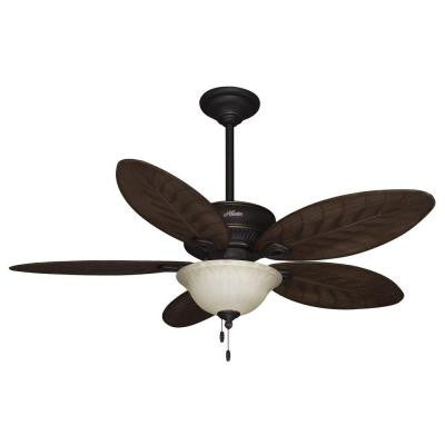 Grand Cayman 54 in. Onyx Bengal Damp Rated Ceiling Fan with Light Kit
