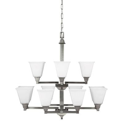 Denhelm 12-Light Brushed Nickel Chandelier with Inside White Painted Etched Glass