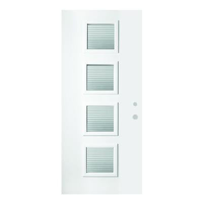 32 in. x 80 in. Evelyn Masterline 4 Lite Prefinished White Steel Prehung Front Door