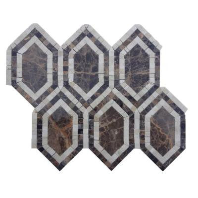 Infinite Dark Empradore Polished Marble Tile - 3 in. x 6 in. Tile Sample