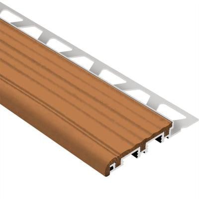 Trep-B Aluminum with Nut Brown Insert 5/16 in. x 8 ft. 2-1/2 in. Metal Stair Nose Tile Edging Trim