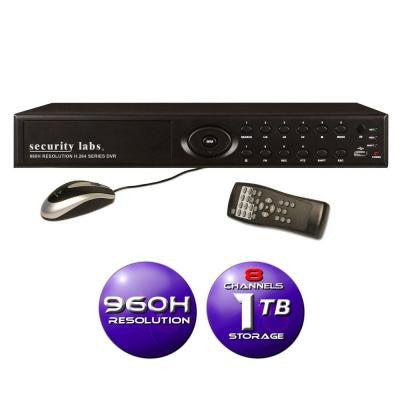8-Channel 960H Surveillance DVR with 1TB HDD, 3G/4G Smartphone Monitoring, E-Mail and Text Message Alerts