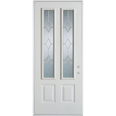 36 in. x 80 in. Geometric Patina 2 Lite 2-Panel Prefinished White Left-Hand Inswing Steel Prehung Front Door