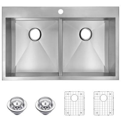 Top Mount Zero Radius Stainless Steel 33 in. 1-Hole Double Bowl Kitchen Sink with Strainer and Grid in Satin Finish