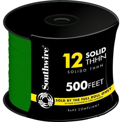 500 ft. 12 Solid THHN Green Cable