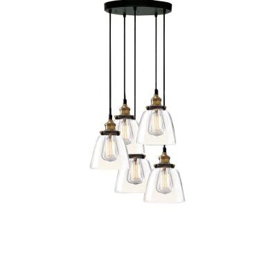 Edison Euna Collection 5-Light Black Clear Glass Indoor Pendant