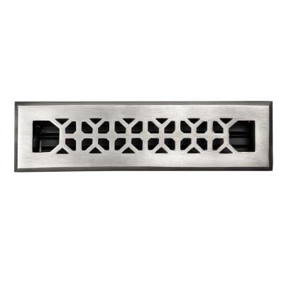 2-1/4 in. x 12 in. Floor Register with Adjustable Damper in Satin Nickel