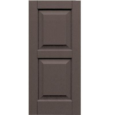 Wood Composite 15 in. x 33 in. Raised Panel Shutters Pair #641 Walnut
