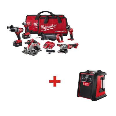M18 FUEL 18-Volt Lithium-Ion Brushless Cordless Combo Kit (6-Tool)  with M18 Jobsite Radio/Charger