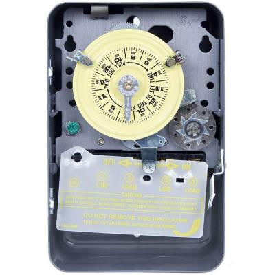 T170 Series 40-Amp 24-Hour Mechanical Time Switch with Skipper and Indoor Enclosure - Gray