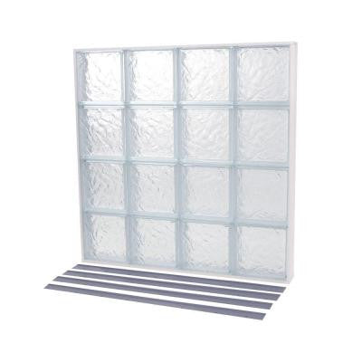 18.125 in. x 39.875 in. NailUp2 Ice Pattern Solid Glass Block Window