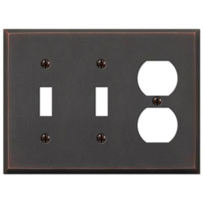 Manhattan 2 Toggle and 1 Duplex Wall Plate - Aged Bronze