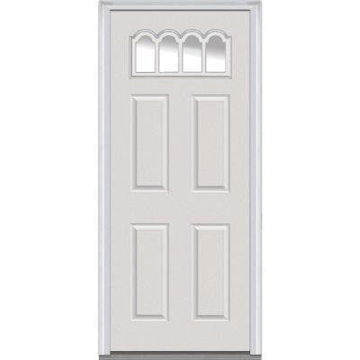 36 in. x 80 in. Classic Clear Glass 4 Lite 4-Panel Primed Fiberglass Smooth Prehung Front Door