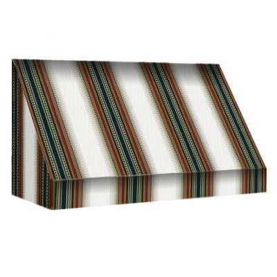 40 ft. New Yorker Window Awning (44 in. H x 24 in. D) in Burgundy / Forest / Tan Stripe
