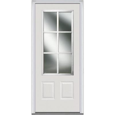 36 in. x 80 in. Simulated Divided Lite Clear Glass 3/4 Lite 2-Panel Primed White Fiberglass Smooth Prehung Front Door