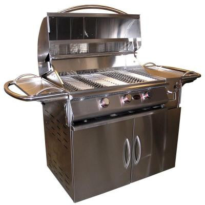A La Plus 3-Burner Stainless Steel Propane Gas Grill Cart