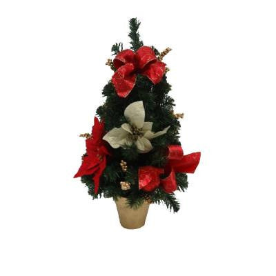 24 in. Unlit Artificial Red Poinsettia Tree