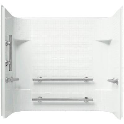 Accord 60 in. x 36 in. x 55.125 in. 3-Piece Direct-to-Stud Shower Surround in White with Nickel Grab Bars