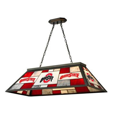 3-Light Black Ohio State Stained Glass Billiard Lamp