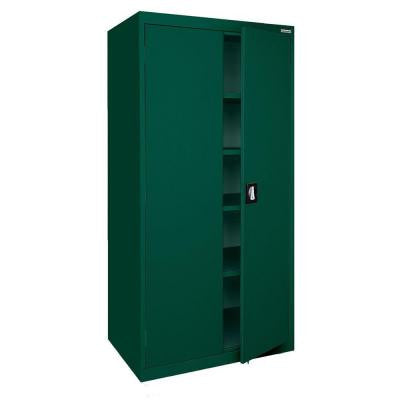Elite Series 78 in. H x 36 in. W x 24 in. D 5-Shelf Steel Recessed Handle Storage Cabinet in Forest Green