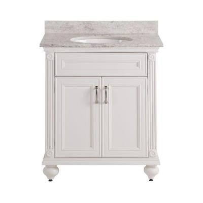 Annakin 31 in. W x 22 in. D x 38.3 in. H Vanity in Cream with Stone Effects Vanity Top in Winter Mist with White Basin