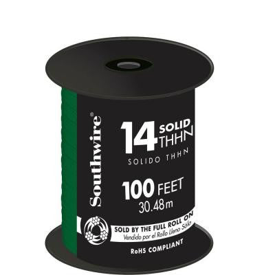 100 ft. 14/1 Solid THHN Wire - Green