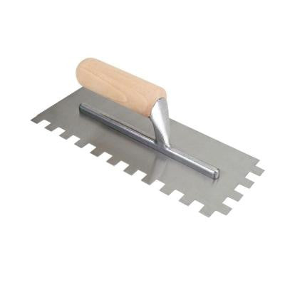 1/2 in. x 1/2 in. x 1/2 in. Square-Notch Pro Trowel with Wood Handle