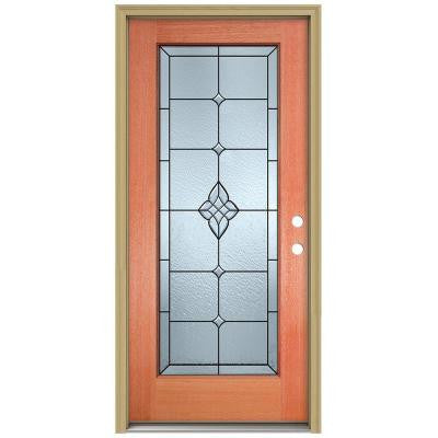 36 in. x 80 in. Rosemont Full Lite Unfinished Mahogany Wood Prehung Front Door with Brickmould and Patina Caming