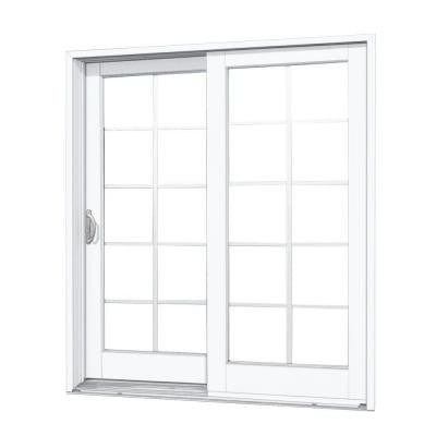 60 in. x 80 in. Composite White Left-Hand DP50 Smooth Interior with 10 Lite GBG Sliding Patio Door