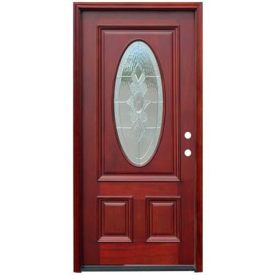 36 in. x 80 in. Traditional 3/4 Oval Stained Mahogany Wood Prehung Front Door
