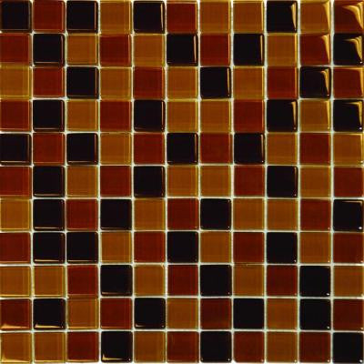 Brown Blend 12 in. x 12 in. x 8 mm Glass Mesh-Mounted Mosaic Tile