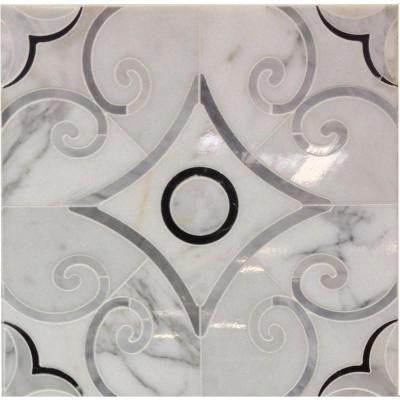 Steppe Grazia 12 in. x 12 in. x 10 mm Polished Marble Waterjet Mosaic Tile