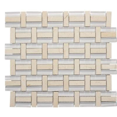 13-3/4 in. x 11-3/4 in. Citrus Splash Glass/Beige Marble Mosaic Wall Tile