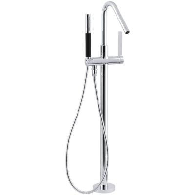 Purist 1-Handle Floor-Mount Tub Filler with Handshower in Polished Chrome