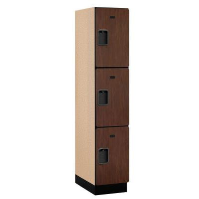 23000 Series 3-Tier Wood Extra Wide Designer Locker in Mahogany - 15 in. W x 76 in. H x 21 in. D