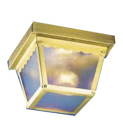 Lenor 2-Light Polish Brass Fluorescent Ceiling Semi-Flush Mount Light