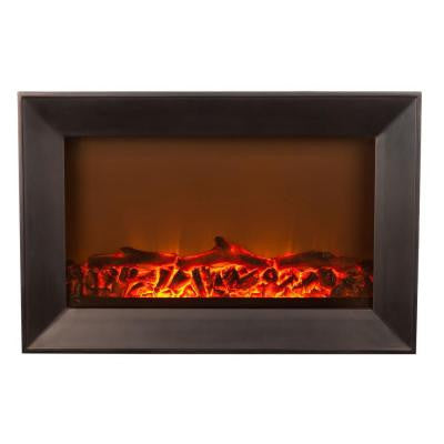 1,400-Watt Wall-Mounted Wood Look Electric Fireplace in Black