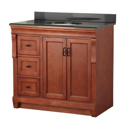 Naples 37 in. W x 22 in. D Vanity in Warm Cinnamon with Left Drawers with Colorpoint Vanity Top in Black