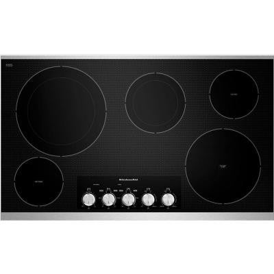 36 in. Ceramic Glass Electric Cooktop in Stainless Steel with 5 Elements including Double-Ring and Warming Elements