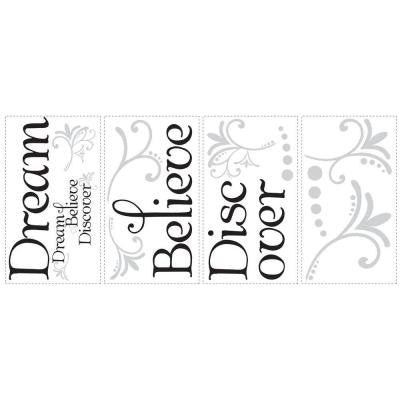10 in. x 18 in. Dream Believe Discover 20-Piece Peel and Stick Wall Decals